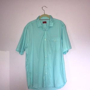 Men's Blue Alfani Short Sleeve Button Down